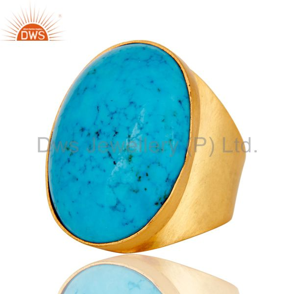 Suppliers 22K Yellow Gold Plated Handmade Wide Natural Turquoise Brass Dome Ring Jewellery