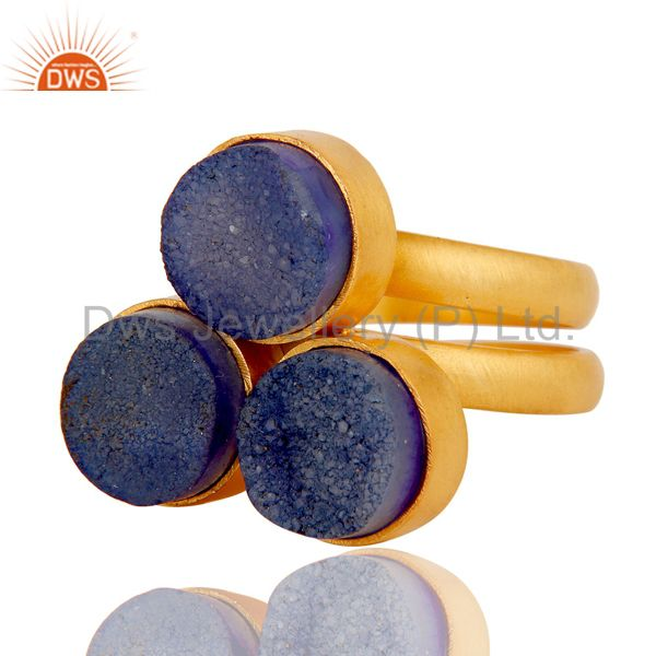 Suppliers 22K Gold Plated Handmade Purple Natural Druzy Brass Statement Ring Jewellery