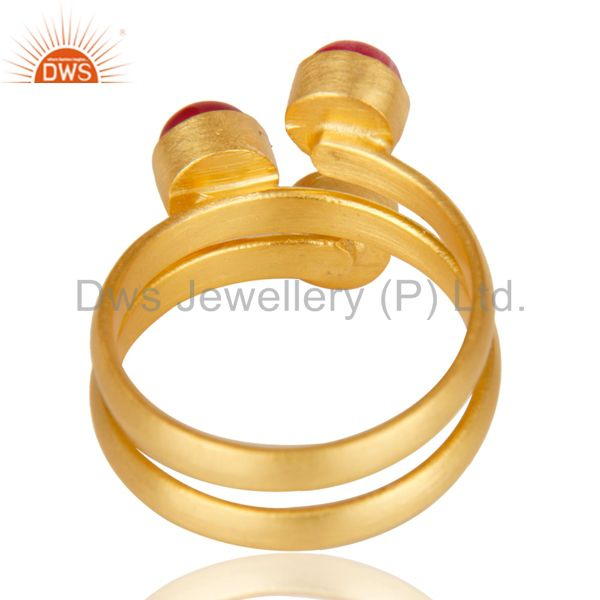 Suppliers Natural Red Aventurine Quartz Statement 18K Gold Plated Brass Ring Jewelry