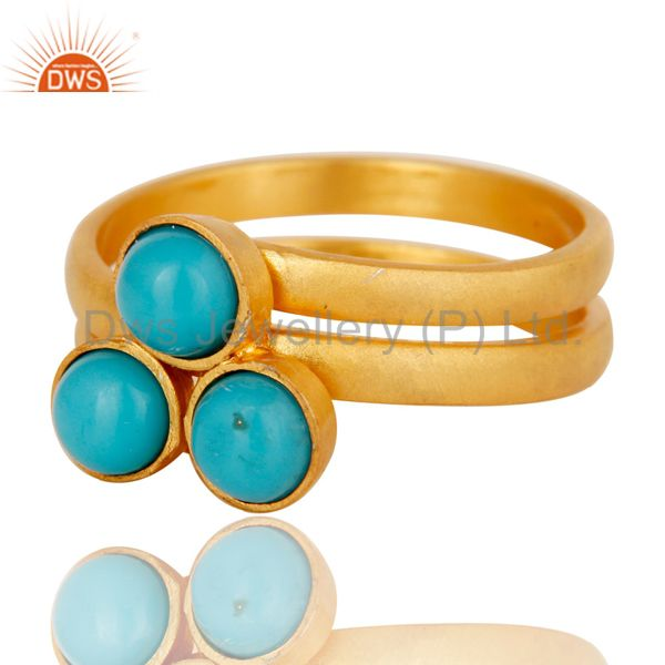 Suppliers 22K Yellow Gold Plated Handmade Matrix Turquoise Brass Stackable Ring Jewellery