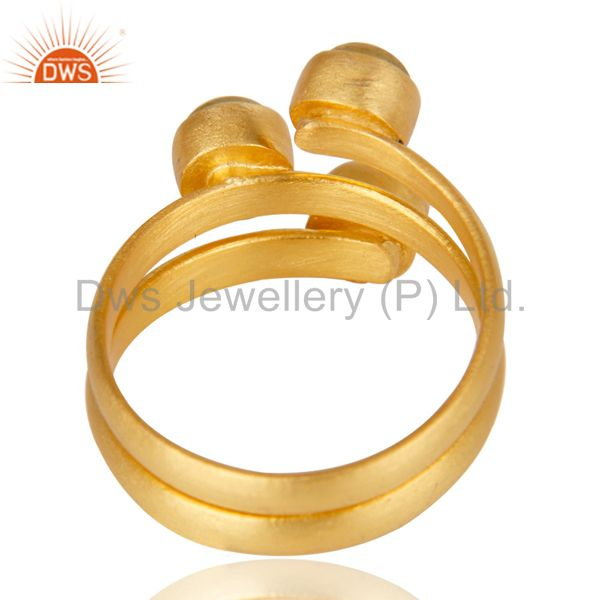 Suppliers Beautiful 14K Yellow Gold Plated Handmade Dyed Chalcedony Statement Brass Ring