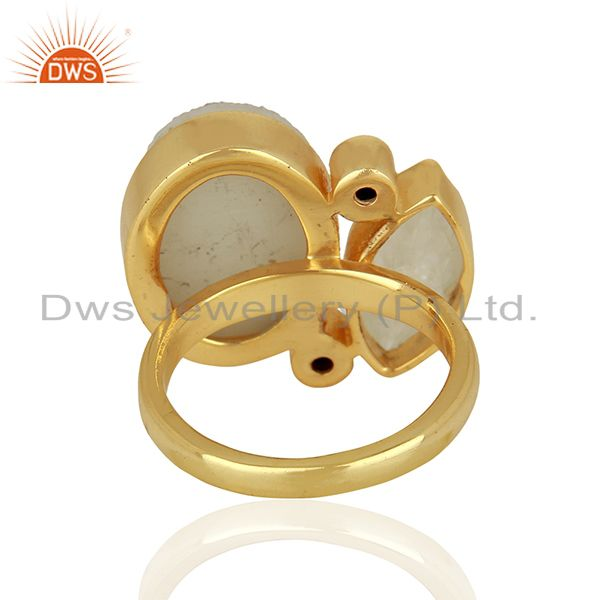 Suppliers 14K Yellow Gold Plated Rainbow Moonstone Druzy & CZ Statement Brass Ring