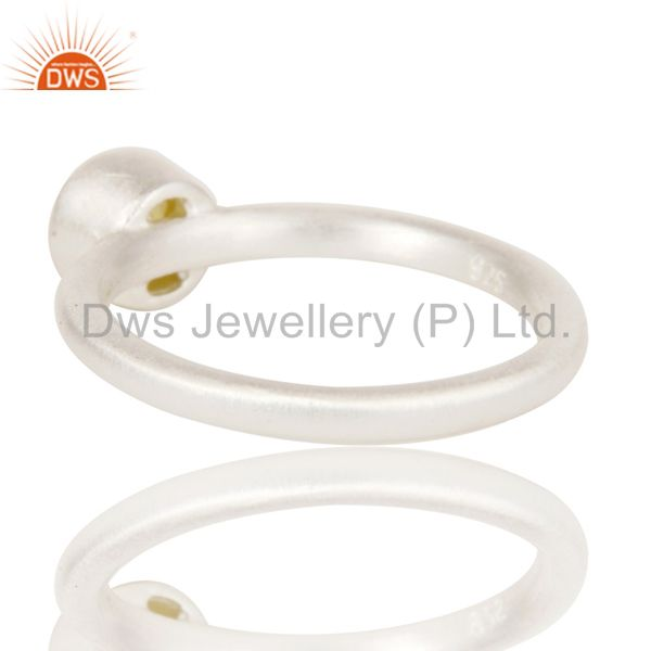 Designers Handmade Solid Sterling Silver Natural Yellow Moonstone Little Stacking Ring