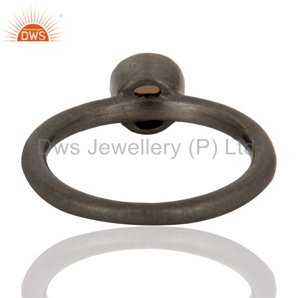 Designers Black Rhodium Plated Plated Sterling Silver Natural Smoky Quartz Stacking Ring