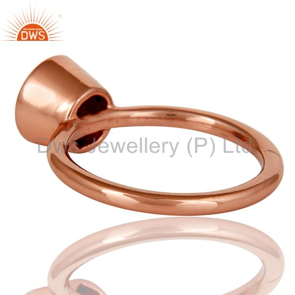 Designers 18K Rose Gold Plated Sterling Silver Handmade Round Smokey Topaz Stackable Ring