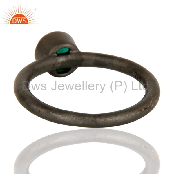 Designers Black Oxidized Sterling Silver Green Onyx Gemstone Stacking Ring