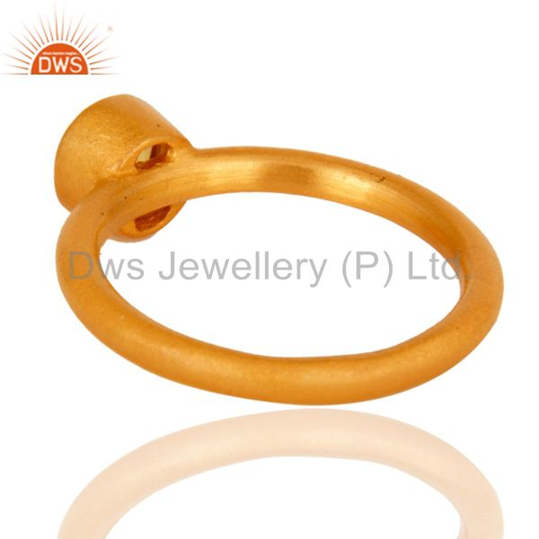 Suppliers 18K Yellow Gold Plated Sterling Silver Yellow Chalcedony Gemstone Stacking Ring