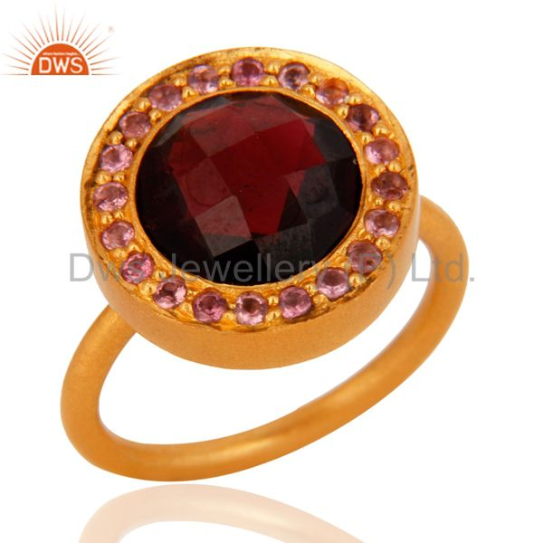 Suppliers 18K Yellow Gold Plated Sterling Silver Tourmaline And Garnet Cocktail Ring