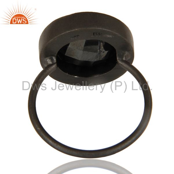 Designers Black Oxidized 925 Sterling Silver Hematite & White Topaz Stackable Ring Jewelry