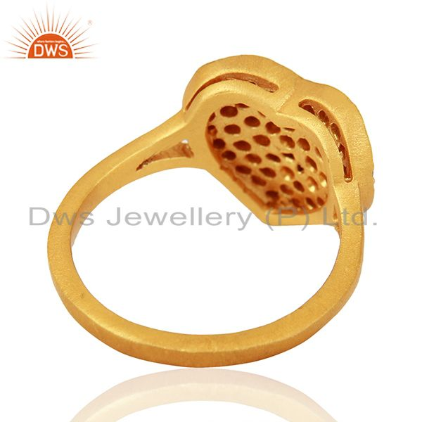 Suppliers 18K Yellow Gold Plated Sterling Silver Smokey Quartz Heart Shape Ring