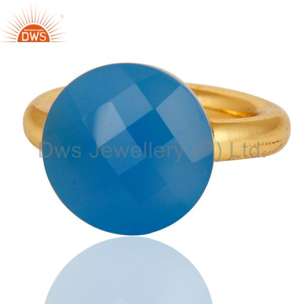 Designers 18K Yellow Gold Plated Faceted Blue Chalcedony Sterling Silver Ring