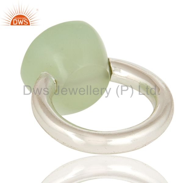 Designers Faceted Green Chalcedony Gemstone Sterling Silver Ring