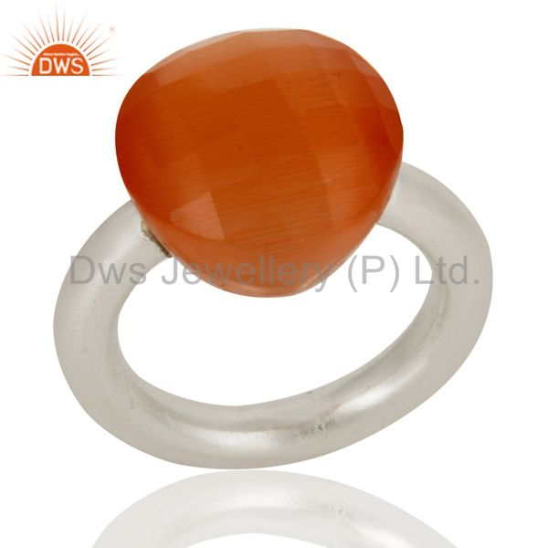 Designers Solid Sterling Silver Natural Peach Moonstone Faceted Gemstone Stacking Ring