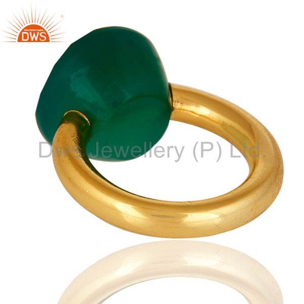 Designers Faceted Green Onyx Gemstone 18K Gold Plated Sterling Silver Stacking Ring