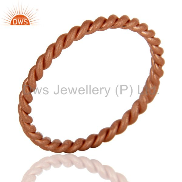 Suppliers 18K Rose Gold Plated Sterling Silver Twisted Wire Stackable Ring