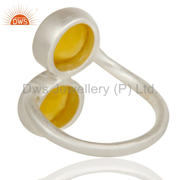 Designers Solid Sterling Silver Yellow Moonstone Two Gemstone Stackable Ring