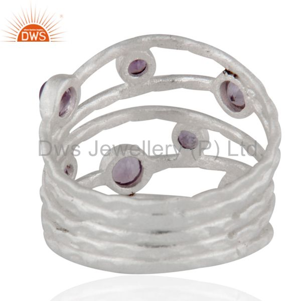 Designers Solid 925 Sterling Silver Amethyst Gemstone Textured Design Ring
