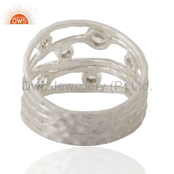 Designers 925 Sterling Silver White Topaz Gemstone Textured Five Joined Band Ring