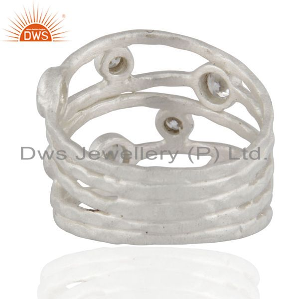 Designers Solid 925 Sterling Silver White Cubic Zirconia Party Wear Fashion Ring