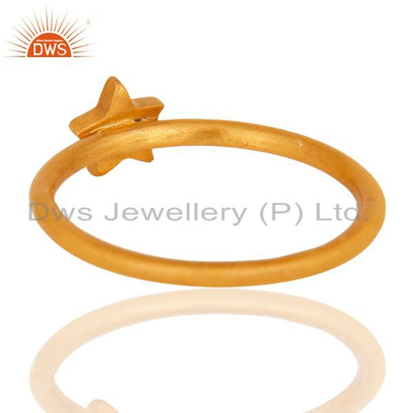 Designers 18K Yellow Gold Plated Sterling Silver Star Design Stackable Ring