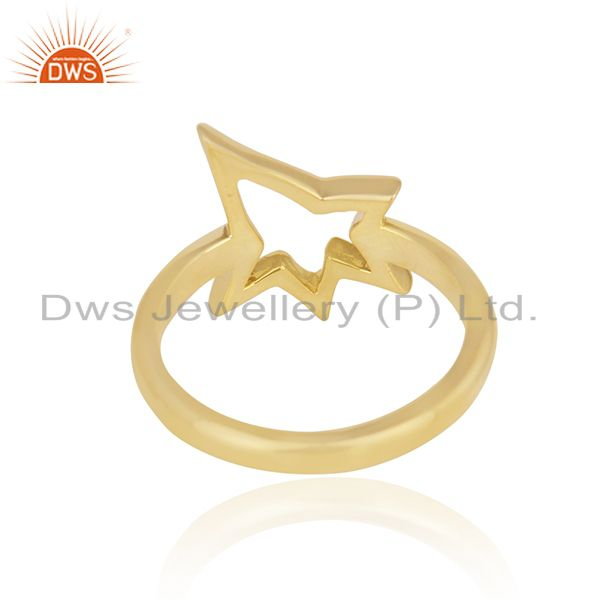 Suppliers 18K Yellow Gold Plated Sterling Silver Open Star Ring