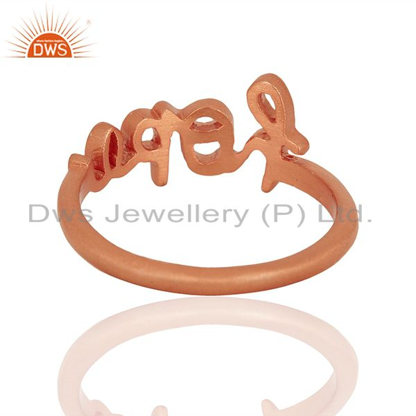 Suppliers 18K Rose Gold Plated Solid Sterling Silver Cursive Style Font