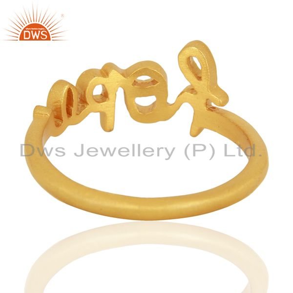 Suppliers 18K Yellow Gold Plated Sterling Silver Cursive Style Font