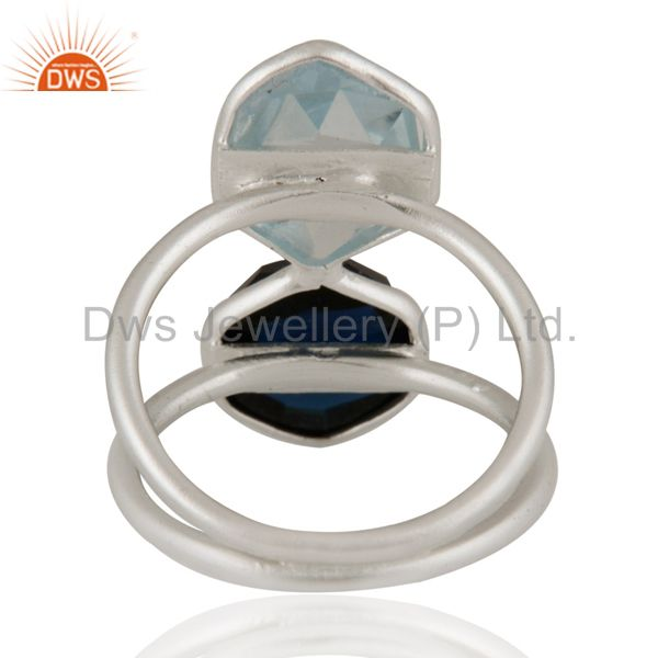 Designers 925 Sterling Silver Blue Corundum And Blue Topaz Bezel-Set Ring