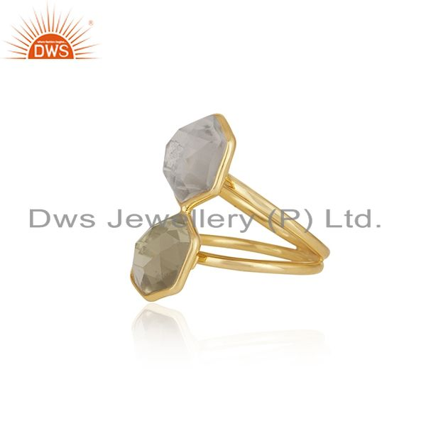 Suppliers 18K Yellow Gold Plated Sterling Silver Crystal Quartz Split Shank Statement Ring
