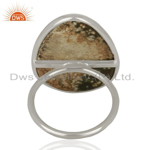 Suppliers Ocean Jasper Cocktail 925 Sterling Silver Ring Gemstone Jewelry