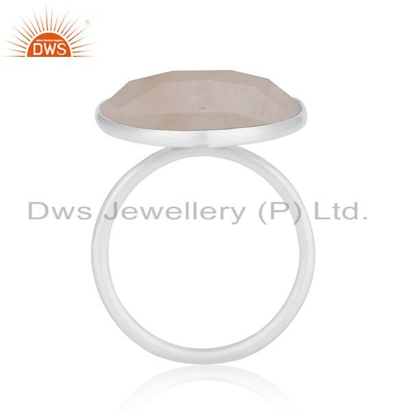 Suppliers Rose Quartz Gemstone 925 Sterling Fine Silver Statement Ring Manufacturers