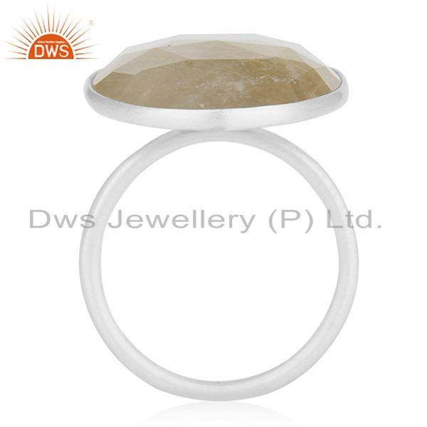 Suppliers Golden Rutile Quartz Handmade 925 Sterling Fine Silver Gemstone Ring Wholesale