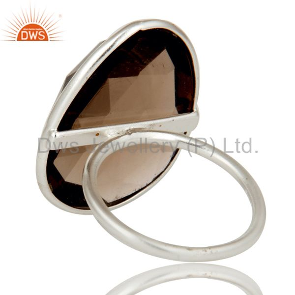 Designers Solid Sterling Silver Smokey Quartz Bezel Set Statement Ring