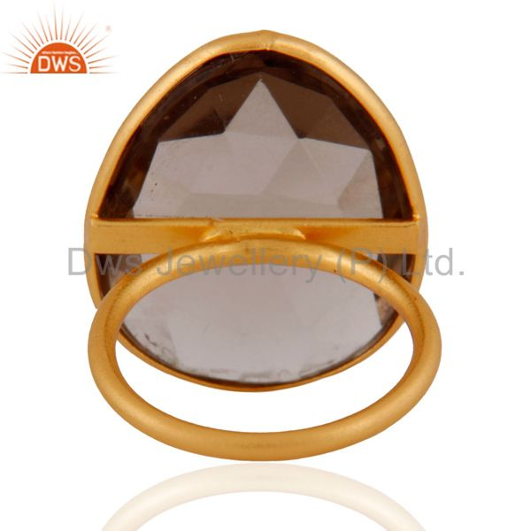 Suppliers Bezel Set Smoky Quartz Faceted Ring In 18K Gold Over Sterling Silver
