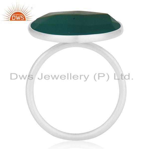 Suppliers Green Onyx Gemstone 925 Sterling Fine Silver Cocktail Ring Manufacturers