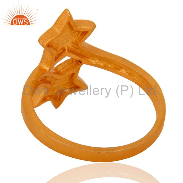 Suppliers 18K Yellow Gold Plated Sterling Silver Double Star Sign Stacking Ring
