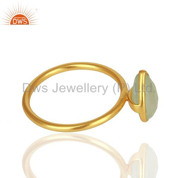 Suppliers Solid 925 Silver Gold Plated Chalcedony Gemstone Rings Suppliers