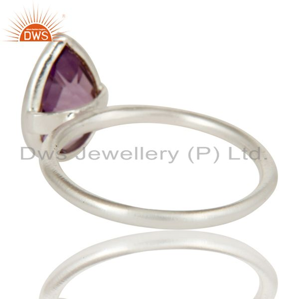 Designers Solid 925 Sterling Silver Natural Amethyst Pear Shape Gemstone Stackable Ring