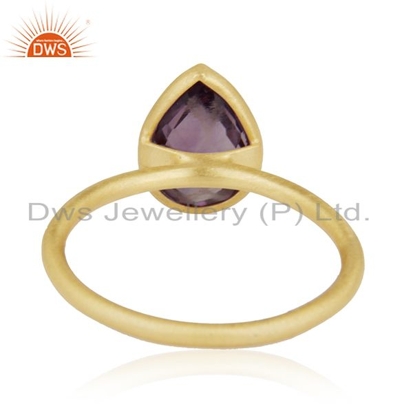 Designers 18K Yellow Gold Plated Sterling Silver Amethyst Bezel Stacking Ring