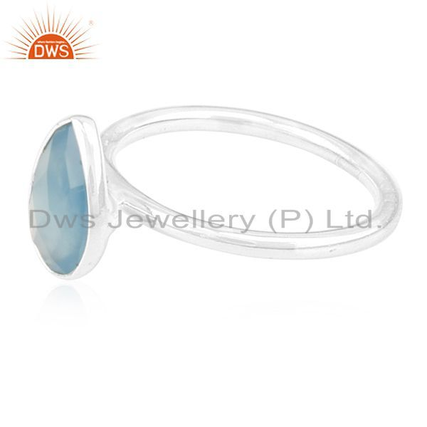 Suppliers Blue Chalcedony Gemstone 925 Silver Handmade Ring Manufacturer for Private Label