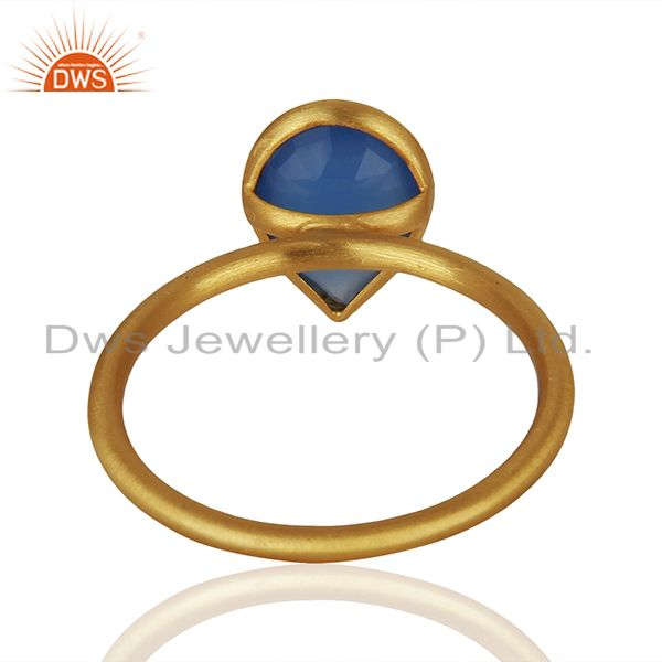 Suppliers Blue Chalcedony Gemstone Gold Plated 925 Silver Stackable Ring Jewelry
