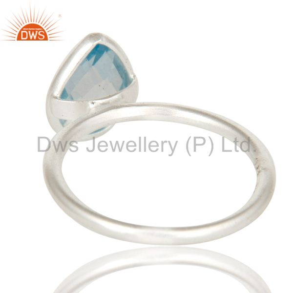 Designers 925 Sterling Silver Natural Blue Topaz Pear Shape Gemstone Stack Ring