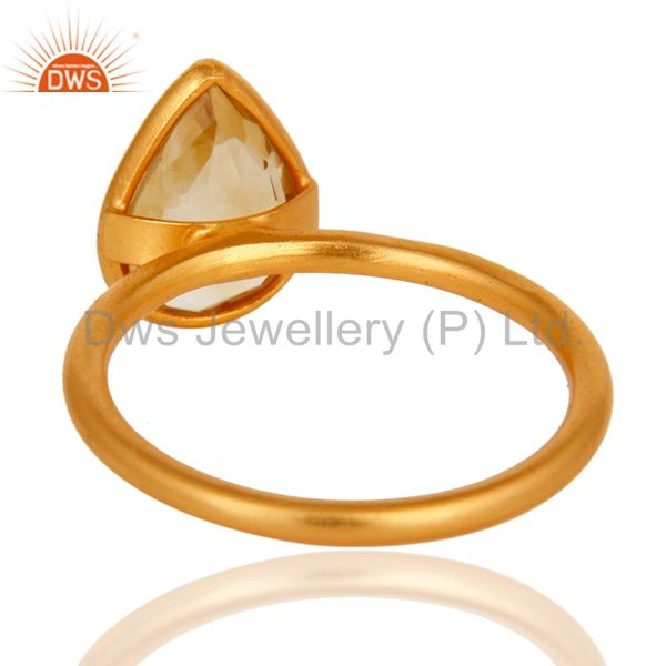 Designers 18K Yellow Gold Plated Sterling Silver Natural Citrine Gemstone Ring