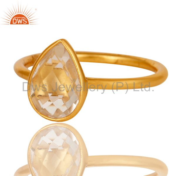 Designers 18K Gold Plated 925 Silver Natural Crystal Quartz Pear Shape Gemstone Stack Ring