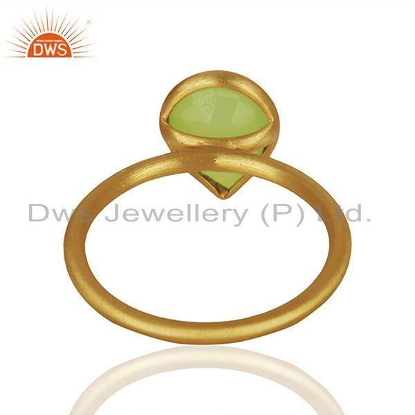 Suppliers Prehnite Chalcedony Gemstone Gold Plated Silver Ring Jewelry Supplier
