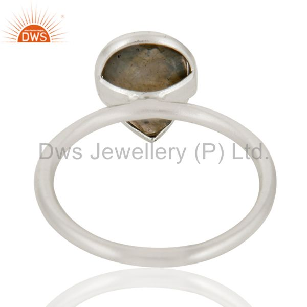 Designers 925 Solid Sterling Silver Labradorite Gemstone Bezel Set Drop Ring