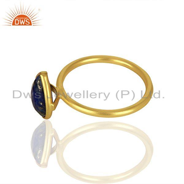 Suppliers 18K Yellow Gold Plated Sterling Silver Lapis Lazuli Gemstone Drop Stackable Ring
