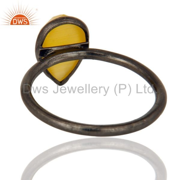 Designers Black Rhodium Plated Sterling Silver Yellow Moonstone Bezel Set Drop Ring