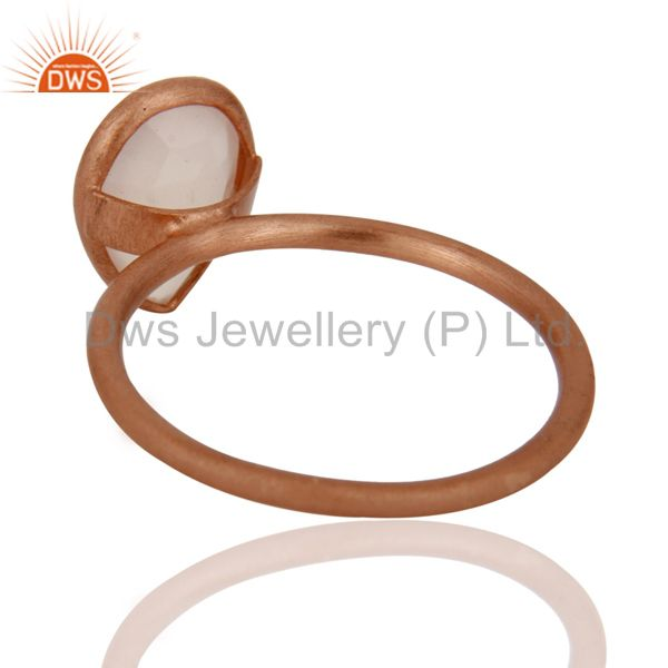 Designers 18K Rose Gold Plated Sterling Silver Rose Chalcedony Drop Stackable Ring
