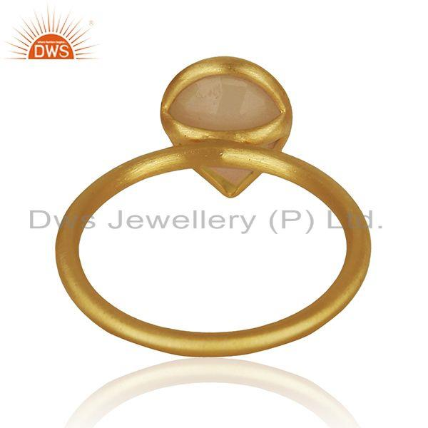 Suppliers Yellow Gold Plated 925 Silver Rose Chalcedony Gemstone Ring Jewelry Manufacturer